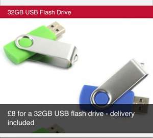 32GB USB flash drive £8.00 delivered @ KGB