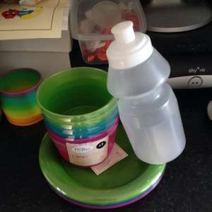 Asda Plastic bowls plastic plate and small water bottle 50p