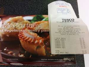 Linda McCartney 4 vegetarian country pies £1.25, Beeston Nottingham Tesco extra in-store