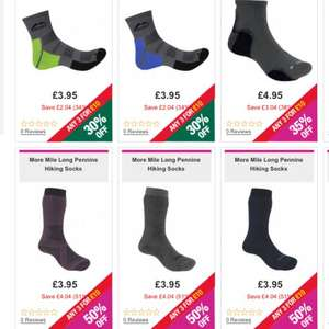 3 pairs of more mile hiking / running / outdoor / train socks men / women children £8 delivered