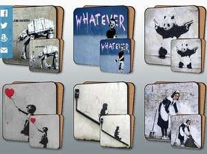 Have a look at the Banksy Street Art Placemat and Coaster Set via Amazon UK deal for £15