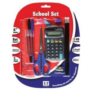 14 Piece School Set (Contains 15 cm ruler, set square, pair of scissors, protractor, 3 ballpoint pens, 2 HB pencils with erasers, 3 eraser pencil toppers, calculator & sharpener) - £1.99 - Argos