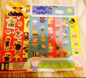 Sticker Fun sheets peppa pig, fireman sam 39p @ home bargains