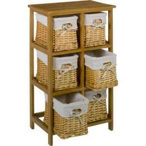 £34.99 ~ was £89.99 6 Basket Tall Wooden Storage Unit @ Argos ~ Free Reserve and collect