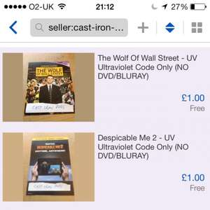 UV ultraviolet digital download codes for £1 delivered (some hd) eBay seller cast iron DVDs (70k x 100% reviews) inc wolf of Wall Street despicable me 2 turbo worlds end etc