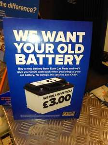 Free Cash £3 for Disposing your Used / Faulty / Damaged Battery at Eurocarparts