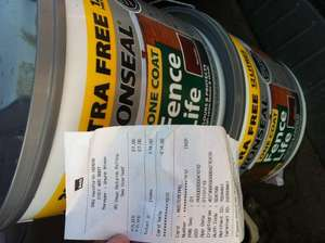 Ronseal red cedar fence life stain 12l - £7 instore @ B&Q