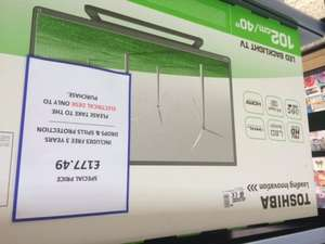 Toshiba 40L2433D FULL 1080 HD LED TV NOW £177 with 3 years full accident protection @ Tesco ( Instore )