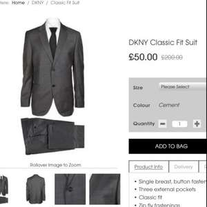 Dkny Classic fit suits £50.00 down from £200.00   @ Cruisefashion  + £6 p&p