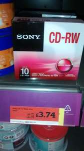 Sony CD-RW (Pack of 10)  £8.32 - £3.74 @ Sainsburys