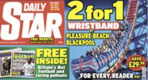 2 for 1 Blackpool Pleasure Beach Wristbands! In today's (Sat 20th Sept) Daily Star
