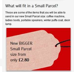 Royal Mail 'Bigger Size Small Parcel' 45x35x16cm up to 2kg From £2.80 Till 18th January 2015