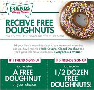 1 FREE Krispy Kreme Doughnut when you to join newsletter (and up to 6 when friends to join too) **REFERRALS NOT ALLOWED***
