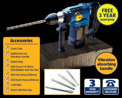 1500W SDS Rotary Hammer Drill - £39.99 @ ALDI
