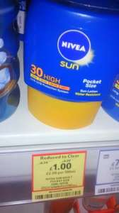 Nivea sun adult pocket size 50ml SPF30 £1 @ Tesco express