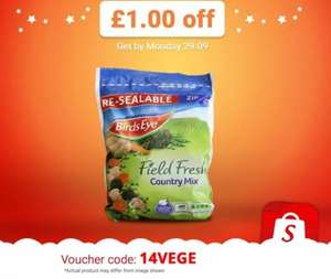 Enter 14VEGE into the Shopitize App for £1 off Birds Eye Field Fresh Country Mix (690g). £2 @ All Leading Supermarkets = £1 after cb...