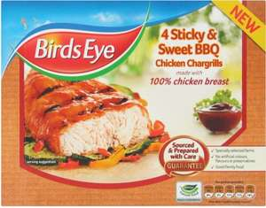 Birds Eye Sticky & Sweet BBQ Chicken (74% Breast) Chargrills (4 per pack - 340g) was £3.25 now £1.62 @ Tesco