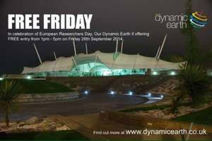 Free admission to Edinburgh's dynamic Earth Today! 26/09