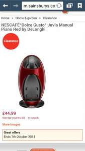 NESCAFÉ®Dolce Gusto® Jovia Manual Piano Red by DeLonghi Reduced from £89.99 to £44.99 @ Sainsburys