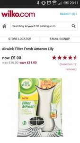 Airwick filter fresh air freshener £5 @ Wilko instore & online
