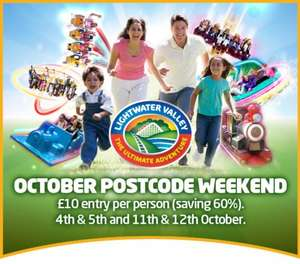 £10 entry for north east postcodes this weekend at lightwater valley other postcodes next weekend check to see if you are eligible