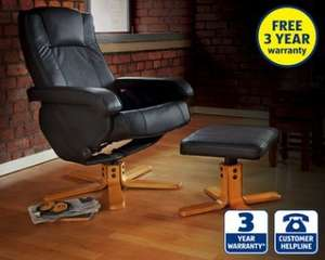 Leather Reclining Chair with Footstool with Wooden Base at Aldi £99.99