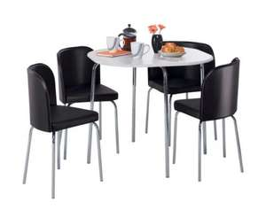 Hygena Amparo White Dining Table and 4 Black Chairs was £99.99 now down to  £49.99 + Delivery charges ( £8.95 delivery) @ Argos