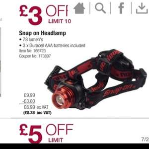 Snap on head lamp reduced this month to £8.38 at costco