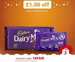 Enter 14FAIR into the Shopitize App for £1 off Cadbury Dairy Milk Fairtrade Chocolate. 4 Pack - £1 @ Sainsbury's = FREE / 200g Bar - £1.50 @ Sainsbury's & Morrisons = 50p after cash back...