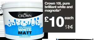 B&Q Crown 10 litre matt white or magnolia emulsion reduced from £14 to £10 this weekend.