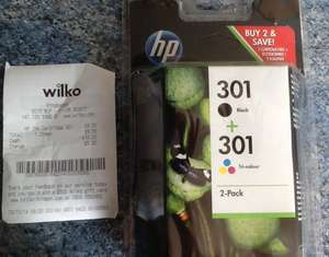 HP 301 Black & Tri-Colour Ink Cartridge £9.50 @ Wilkinsons
