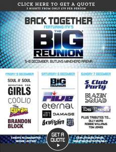 The Big Reunion 5th-8th Dec £200 4 adults silver room (Butlins Minehead) Saving of £113 using code