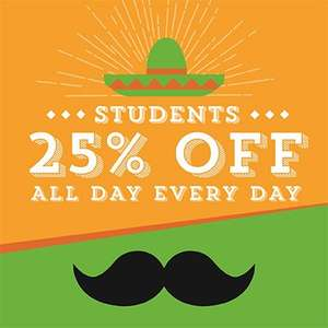 Free Student Card from Chiquito for 25% off food