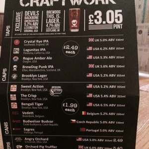 Craft Ciders and Beers - £1.99 in Wetherspoons