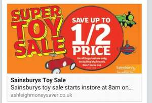 Sainsburys up to half price toy sale starts 22nd october *confirmed* in store only