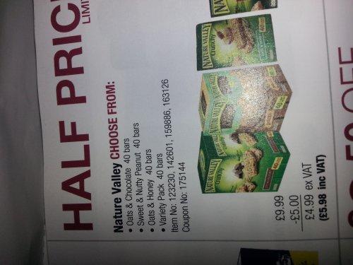 Nature Valley Bars x40 £5.98 inc Vat @ Costco