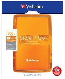 Verbatim Store'n'Go 500GB USB 3.0 Portable External Hard Drive in Orange for £23.34 Delivered @ Redstore