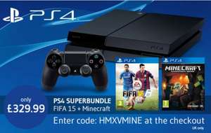 PS4 + FIFA 15 + Mine craft for £329.99 at Xtra-vision (using code)