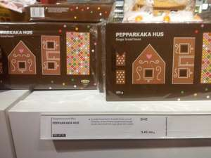 Ikea Gingerbread: House Kit - £2.45,  Christmas Tree Kit - £1.50,  Star & Heart Tree Cookies - 90p.