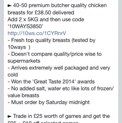 10kg of Fresh Chicken Breast £38.50 @ MuscleFood