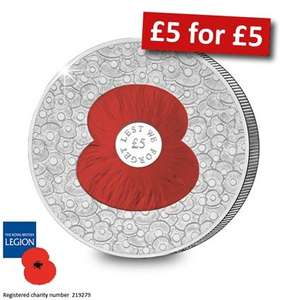 "£5 ""100 poppy coin"" for £5 with a 50p donation to charity @ westminstercollection"