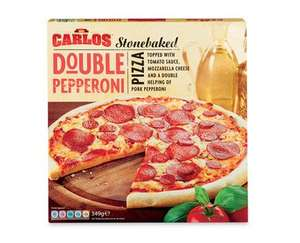 89p Carlos Stonebaked Pizza - Grilled Vegetable - Double Pepperoni - Three Cheese & deep pan varieties @ Aldi