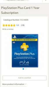 ps4 ps3 playstation plus card 1 year subscription £35 tesco direct