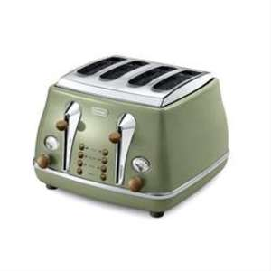 Delonghi Vintage Icona CTOV4003.GR Olivia 4 Slice Toaster - Olive Green £49.99 @ Amazon