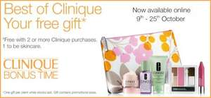 FREE Clinique Bonus Time gift (with purchase) Instore & Online - Thursday 9 October until Saturday 25 October @ Debenhams