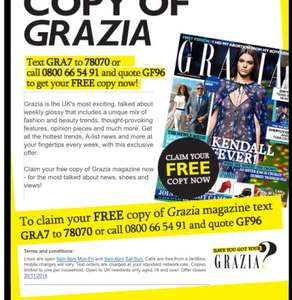 Free copy of Grazia magazine (for the cost of one text message) magazine usually £2