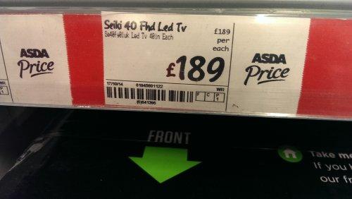 "SEIKI 40"" FULL HD LED TV at ASDA instore for £189"