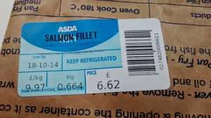 ASDA Salmon Fillets, £9.97/kg  Asda in store fish counter (6 Salmon Steaks for about £6.62)