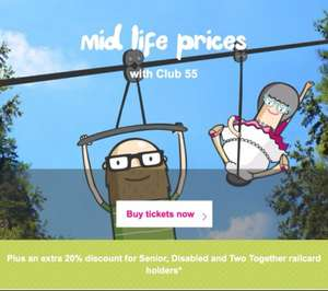 Club 55 mid life prices from £19 return pp with transpennine express