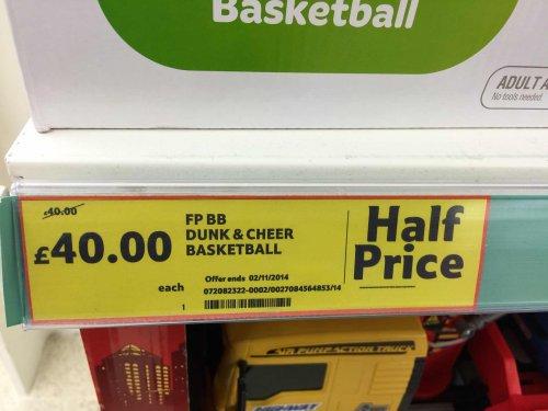 "Tesco ""half price"" Dunk & Cheer Basketball - £40 instore"